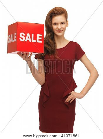 picture of teenage girl in red dress with sale sign