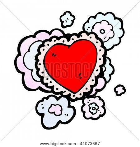 cartoon frilly love heart