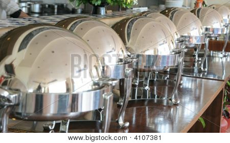 Round Chafing Dish At Restaurant Buffet