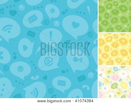 Internet message symbols seamless pattern background