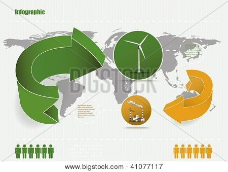 eco infographic. Eps10 .Image contain transparency and various blending modes