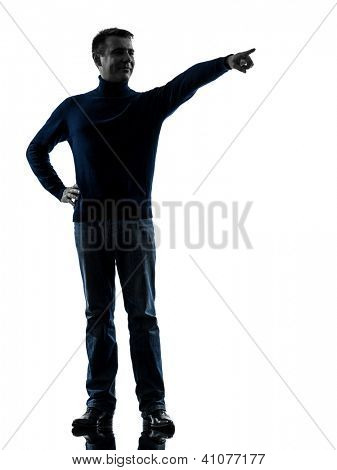 one caucasian man pointing finger  full length in silhouette studio isolated on white background