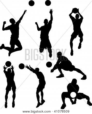 Volleyball Male Silhouettes In Athletic Poses