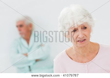 Elderly couple having a fight
