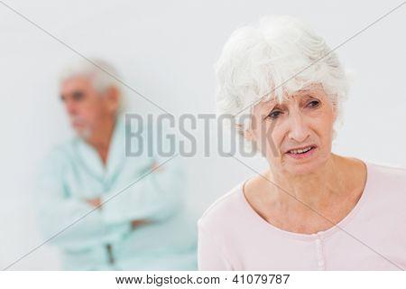 Elderly couple having a fight