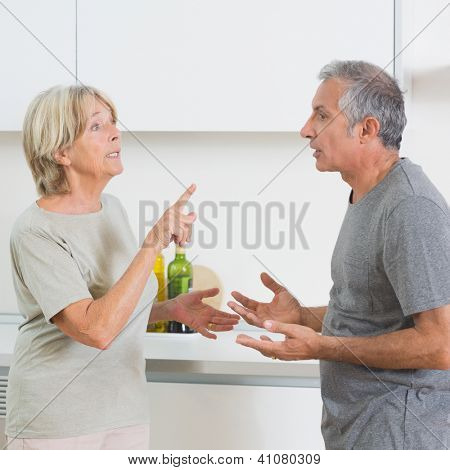 Wife arguing with her husband in the kitchen