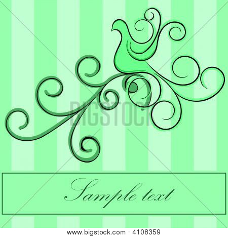 Green Bird With Swirls