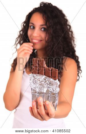 Beautiful African Woman Holding Chocolate Bar