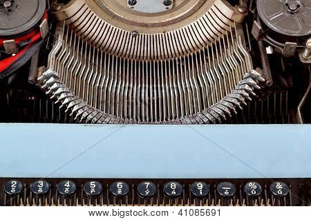 Retro Typewriter Close Up With Number Keys
