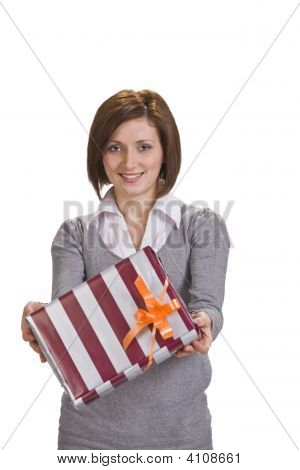 Woman Offering A Gift Box