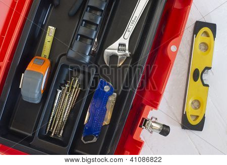 Orange Tool Box Wrench Measuring Tape And Level