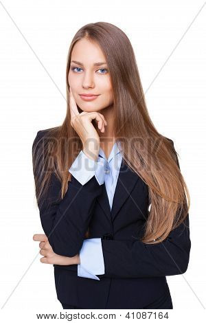 Portrait Of A Young Attractive Business Woman Touching Her Face Isolated On White Background