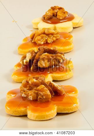 Homemade Butter Cookies With Caramel And Walnuts, In Line