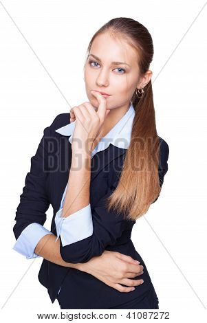 Portrait Of Young Business Woman Thinking Isolated On White Background