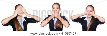 Young Businesswoman Speak No Evil, See No Evil And Hear No Evil Isolated On White