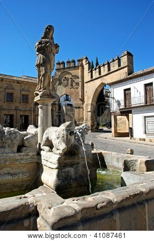 Fountain in town square, Baeza, Andalusia, Spain.