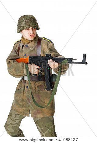 Soldier Shoots Submachine Gun