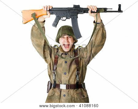 Soldier Holding Machine Gun Over Head
