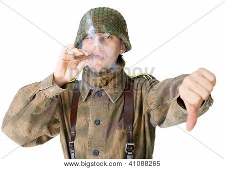Soldier Smoking A Cigar And Gives A Thumb Down