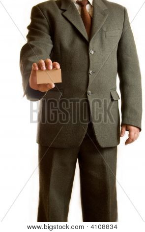 Businessman Shows Blank Card