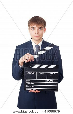 Young Smiling Businessman With Clapperboard Isolated On White Background