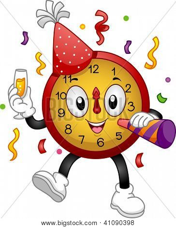 Illustration of a Clock Mascot Wearing a Party Hat and Using a Noise Maker to Celebrate New Year