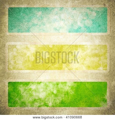 Computer Designed Highly Detailed Green, Blue, And Yellow Grunge Border Frame With Vintage Texture