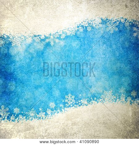 Computer Designed Highly Detailed Winter-style Blue Grunge Border Frame With White Showflake-like Vi