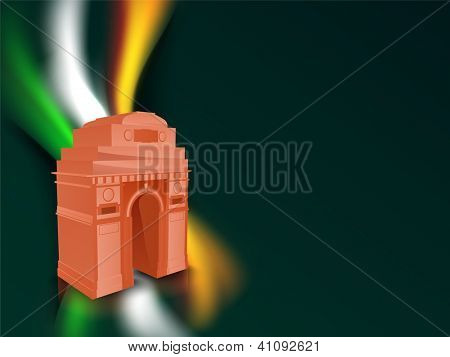 Indian flag color creative wave background with India Gate. EPS 10.