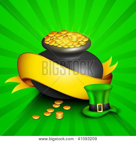 Happy St. Patrick's Day greeting card or background with pot full of golden coins, golden ribbon and leprechauns hat on green rays background. EPS 10.