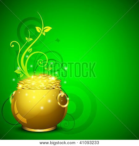 Happy St. Patrick's Day greeting card or background with golden pot and coins on green floral  background. EPS 10.