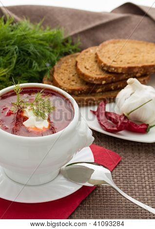 Ukrainian and Russian national borscht