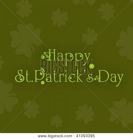 Vintage Happy Saint Patrick's Day background or greeting card with shamrock leafs. EPS 10.
