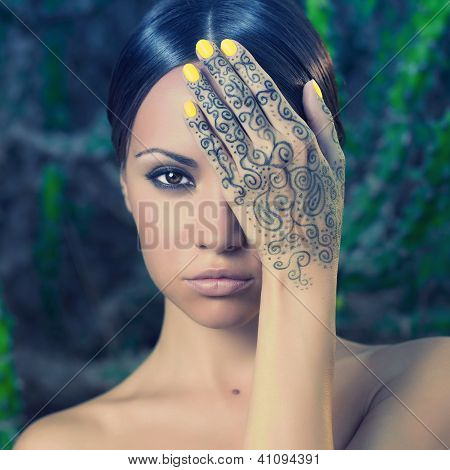 Lady With Painted Hands Mehendi