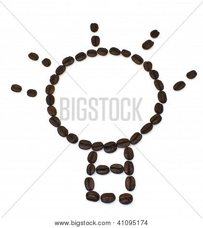 Bulb Idea Coffee Beans Isolated On White Background.