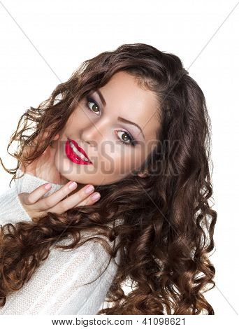 Romantic Curly Brunette Girl In White Warm Sweater - Elation