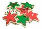 foto of christmas cookie  - Star shaped christmas cookies over white background - JPG