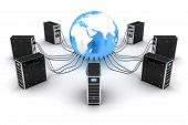 stock photo of intranet  - Modern server and earth  - JPG