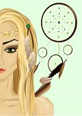 stock photo of witch-doctor  - Portrait of a beautiful sorceress against Dream Catcher - JPG