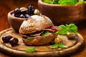 stock photo of antipasto  - Sandwich with Italian salami - JPG