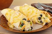 pic of enchiladas  - Two chicken enchiladas with melted cheese on a plate - JPG