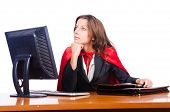foto of superwoman  - Superwoman worker working in office - JPG