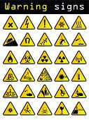 stock photo of bio-hazard  - Vector warning sign set of 30 pieces - JPG