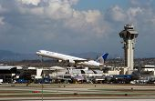 LOS ANGELES, CA - OCTOBER 23: A United Airlines passenger jet takes off from Los Angeles Internation
