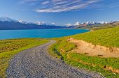 stock photo of hookers  - Braemar Road leading to the Southern Alps in New Zealand - JPG