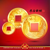 image of copper coins  - Vector Chinese Copper Coins - JPG