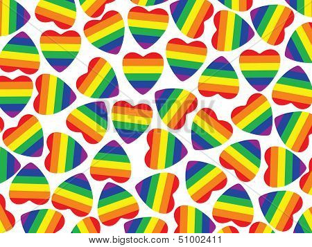 A Lot Hearts With Gay Pride Flag Inside On White.background.
