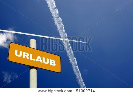 German Holiday Sign With Jet Trails