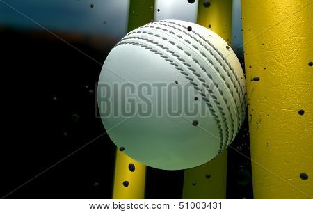 Cricket Ball Striking Wickets With Particles At Night