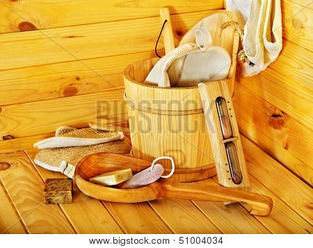 Still life with sauna accessories. Indoor.